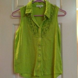 Aeropostale Lime Green Button Up Top